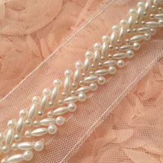Ivory Beaded Lace Trim Pearl Beaded Trim 1 Yard For Costume Wedding Dress Belt Brial Sash Jewelry Design