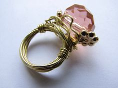 Creamicle colored Swarovski Wire wrapped ring handmade by me!