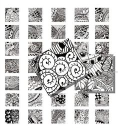 Zentangle Black and White Pen and Ink Drawings  by SimplySaraArt