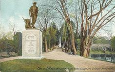 Minute Man National Historical Park, Old north bridge and soldiers monument, Concord, Massachusetts, USA
