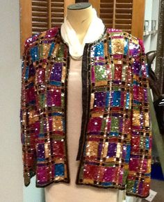 Vintage Lawrence Kazar Multi Colored Sequins Jacket by RESTYLE576, $70.00