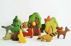 BIG SET Animal toys Forest animals (9pcs)  Trees (5pcs) Nature table Waldorf toys Wooden toys Animal figures Toys for kids Baby shower (104.99 USD) by WoodenCaterpillar