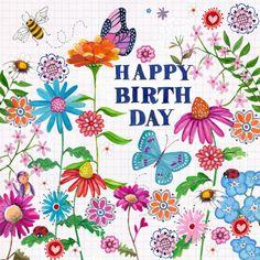 Vrolijke verjaardagskaart met vlinders en hartjes en bloemen. Cartita Design -- BLOEMEN EN PATTERNS --