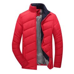 Casual Thicken Warm Waterproof Solid Color Slim Fit Padded Jacket For Men - NewChic