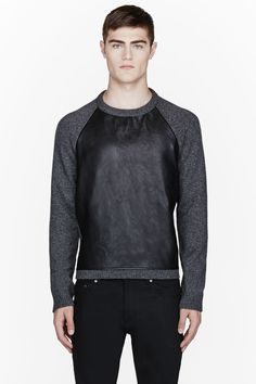 SAINT LAURENT - GREY WOOL LEATHER-PANELED SWEATER
