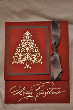 Beautiful! Classy card. Love the gold embossing, the stamps... Might change the brown to something else... Don't know what, though. It wouldn't POP if changed to gold, if green it would need to be a really rich green. Hmmm...