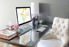 Modern home office. HomeGoods - Mirrored top sawhorse desk and Restoration Hardware Martine Chair.