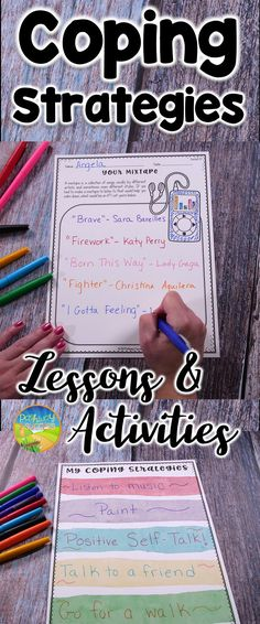 Coping strategies lessons and activities for kids and young adults to help manage emotions. Some coping strategies taught include listening to music, deep breathing, mindfulness, positive self talk, and many more.