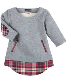 Sweater sleeve patch checkered gray / red Source by Frocks For Girls, Little Girl Dresses, Girls Dresses, Baby Boy Fashion, Toddler Fashion, Kids Fashion, Cute Outfits For Kids, Baby Dress, Blouse
