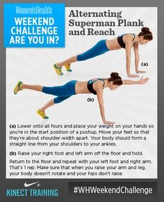#WHWeekendChallenge brought to you by Xbox! Alternating Superman Plank and Reach. Unlock your body's full potential and achieve your flat-belly dreams with this super stability challenge. Try to complete 10 reps on each side without losing your balance. SO...ARE YOU IN?
