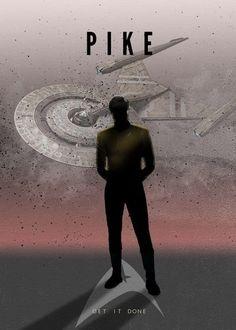 "Star Trek Starfleet Captains Christopher Pike artwork by artist ""Rykker Part of… Star Trek Enterprise, Star Trek Starships, Star Trek Voyager, Star Trek Tos, Affiche Star Trek, Star Trek Poster, Vaisseau Star Trek, Deep Space Nine, Eden Design"