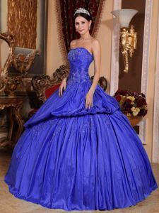 Elegant Strapless Appliques Quinceanera Party Dresses in Taffeta