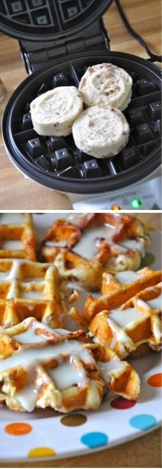 Pillsbury pre-made cinnamon rolls in a can, squashed on a waffle iron! Instant cinnamon roll waffles!