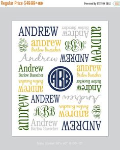 Monogrammed Blanket  Personalized Receiving by ModernMixDesigns