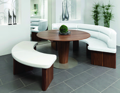 The Salita round dining table is perfect for meetings, conferences and hosting guests. Featuring a rounded bench, table extension and real wood veneers. Round Dining Table, Dining Chairs, Dining Room, Outdoor Furniture Sets, Outdoor Decor, Wood Veneer, Real Wood, Contemporary Style, House Plans