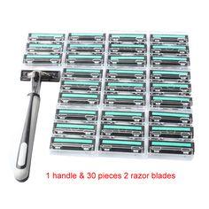 31 en 1 Hojas de Afeitar para Hombres 1 titular de Afeitar de Seguridad y 30 Capas de 2 Cuchillas de Afeitar Cuchillas de Afeitar de Afeitar De Doble Estándar condensador de ajuste