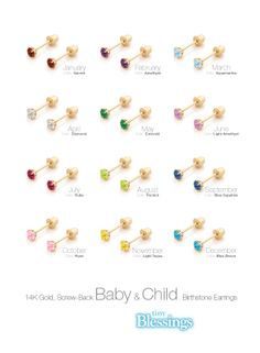 Baby & Child 14K Gold Birthstone Earrings | TinyBlessings.com