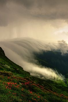 Clouds rolling over the Muntii Rodnei in Romania - The Rodna Mountains are part of the Eastern Carpathians in Northern Romania.- Photo by Lazar Ovidiu Places Around The World, Around The Worlds, Beautiful World, Beautiful Places, Pics Art, Amazing Nature, Land Scape, Science Nature, Beautiful Landscapes