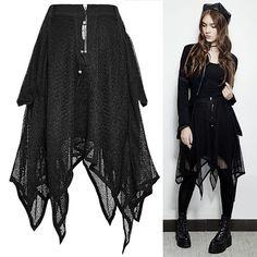 Women Black Knee Length Asymmetrical Gothic Boho Fashion Skirts SKU-11406166