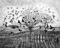 Dance of Crows -  Art Print of Original Scraperboard