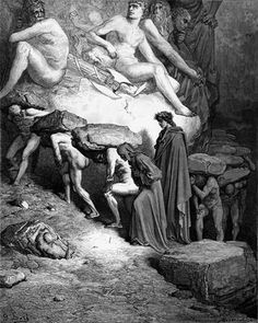 Dante and Virgil among the Proud in Purgatory, c. 1868, Gustave Dore (1832-1883)