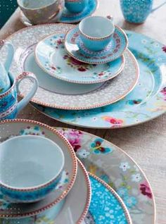 tea cups and other china in beautiful colors