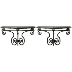 Pair of Art Deco Wrought Iron and Marble Consoles, France, circa 1940s