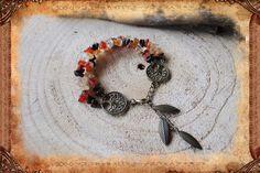 Bracelet en cornaline, citrine et oeil de taureau, de style bohème, nature et…