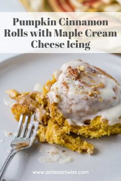 Easy recipe for Pumpkin cinnamon rolls slathered with sweet maple cream cheese icing.