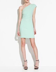 Asymmetric dress available at ZARA.com. comes in mint, lemon, and black.