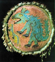 """The 450 year old feather shield """"Ahuizotl"""" , formerly kept as part of the Collections of Ambras Castle, is not only one of the most significant, but also one of the most delicate objects of the Museum of Ethnology in Vienna."""
