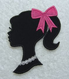 Barbie Silhouette with Bow Fabric Embroidered Iron On Applique Patch Ready to Ship