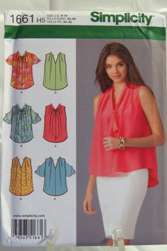 Simplicity 1661 Misses' tops with sleeve variations.