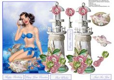 Seashell Pinup Topper with Decoupage on Craftsuprint - Add To Basket!