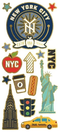Capture your time spent in the Big Apple with the StickyPix New York City Faux Enamel Stickers with Foil Accents. The package includes 15 stickers by Paper House Productions that come in a x package. Some of the stickers feature foil accents. New York Scrapbooking, Disney Scrapbook, Travel Scrapbook, Scrapbook Stickers, Scrapbooking Layouts, Apple Stickers, Cute Stickers, New York Papers, Travel Collage