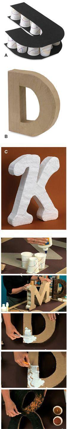 Diy para hacer unas letras de cartón decora y diviértete объемные буквы, ук Cute Crafts, Crafts To Do, Crafts For Kids, Arts And Crafts, Paper Crafts, Diy Crafts, Diy Paper, Creative Crafts, Paper Towel Roll Crafts
