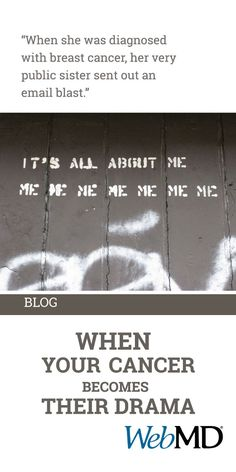 blogs.webmd.com/cancer/2015/04/when-your-cancer-becomes-their-drama.html?ecd=soc_pin_042315_blog_yourcancertheirdrama By Heather Millar When you're diagnosed with cancer, you get sucked into a personal, emotional storm. Then you tell people about your cancer. Your crisis slams into the hopes, fears, hang-ups and personalities of your friends and family. And then the misunderstandings begin.