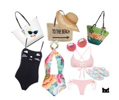 """""""To the beach"""" by constance-mcnamara-romanowski on Polyvore featuring Straw Studios, Mara Hoffman, Karl Lagerfeld, Rad+Refined, Monsoon and Urban Outfitters"""