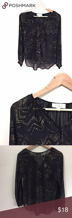 """Olive & Oak Blouse Size Small Sheer Black Gold Olive & Oak blouse, size small. Armpit to armpit 20"""" Length approx. 26""""  Bundle your favorite items together and save! Olive & Oak Tops Blouses"""