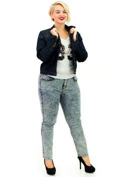Plus Size Dark Blue Denim Jacket, Sequin '83' Tee and Acid Wash Mid-Waist Skinny Jeans | Danice Stores