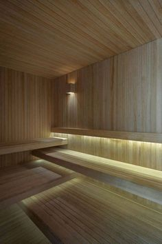 Wooden sauna accompanied by elegant lighting choices - Villalagos Chakra 11 House in Uruguay by Kallos Turin Sauna Steam Room, Sauna Room, Saunas, Luxury Spa, Modern Luxury, Luxury Pools, Bathroom Spa, Modern Bathroom, Bathroom Ideas