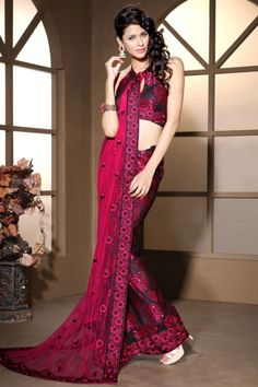 Black and Ruby Red Net and Brasso Embroidered Party and Festival Saree Sku Code:229-1217SA565278 $ 132.00