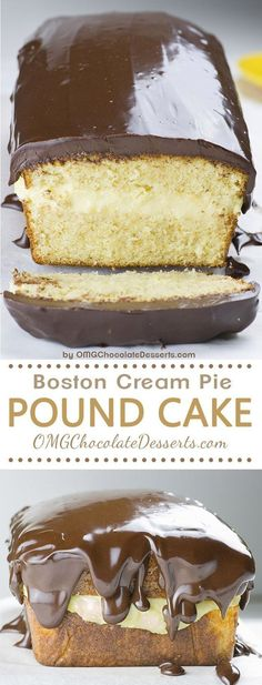 Boston Cream Pie Pound Cake - magnificent, smooth and creamy filling with vanilla flavor sandwiched between two cake layer, topped with rich chocolate ganache! Winning combo! #Vanillacakerecipe