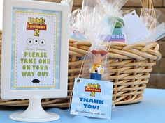 Toy Story Party Favor with Woody toy and sign