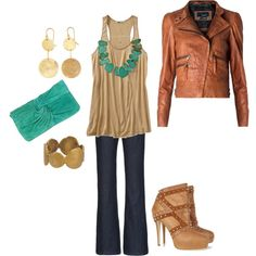 turquoise and a moto jacket... what more could a girl want in an outfit?