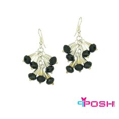 POSH Asia - Earrings - Floating black beads earrings - Black beads - Dimension: 5cm x 2cm  POSH by FERI - Passion for Fashion - Luxury fashion jewelry for the designer in you.