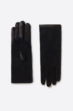 Rękawiczki z wełny ze wstawkami z wysokiej jakości skóry licowej.