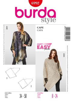 Inspired Photo of Cape Sewing Pattern Cape Sewing Pattern Womens Cape Pattern Burda 6992 Boho Tunic Pattern Asymmetrical Cape Burda Patterns, Modern Sewing Patterns, Vogue Sewing Patterns, Sewing Clothes, Diy Clothes, Capes For Women, Tunic Pattern, Schneider, Dressmaking
