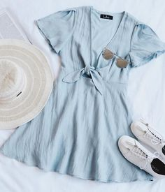 Sea Day Light Blue Skater Dress, SUMMER OUTFİTS, Tap the link now to see our super collection of accessories made just for you! Casual Dresses, Casual Outfits, Summer Outfits, Cute Outfits, Blue Dress Casual, Summer Beach Dresses, Cute Travel Outfits, Trendy Dresses, Casual Shoes