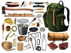Vintage Bushcraft Kit.  The simplicity of wood, canvas, leather and steel.